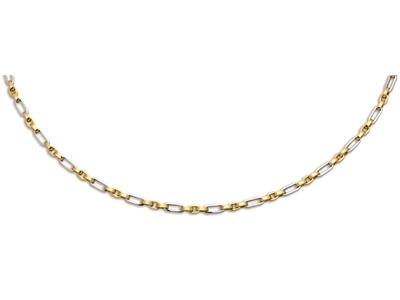 Collier mailles alternes 5 mm Or bicolore 18k 50 cm