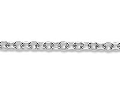 Chaine maille Forat ronde 1 mm Or gris 18k Pd 13. Rf. 00330