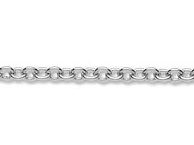 Chaine maille Forat ronde 23 mm Or gris 18k Pd 13. Rf. 00360