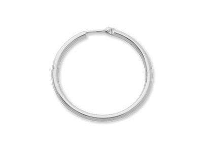 Crole en fil rond Or gris 9k 2 mm Diamtre  30 mm