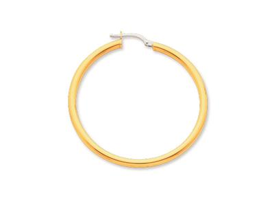 Crole en fil rond Or jaune 18k 25 mm Diamtre  35 mm