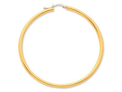 Crole en fil rond Or jaune 18k 25 mm Diamtre  50 mm