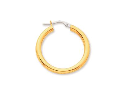 Crole en fil rond Or jaune 18k 3 mm Diamtre  20 mm