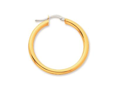 Crole en fil rond Or jaune 18k 3 mm Diamtre  25 mm