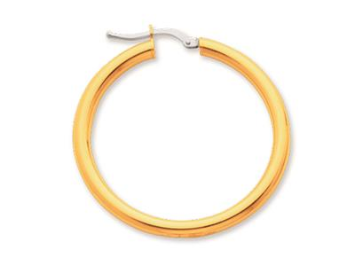 Crole en fil rond Or jaune 18k 3 mm Diamtre  30 mm