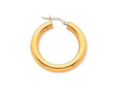Crole en fil rond Or jaune 18k 4 mm Diamtre  20 mm