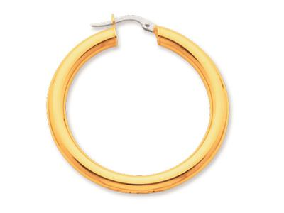 Crole en fil rond Or jaune 18k 4 mm Diamtre  30 mm