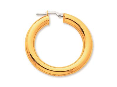 Crole en fil rond Or jaune 18k 5 mm Diamtre  25 mm