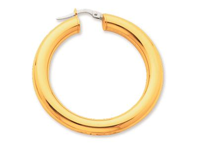 Crole en fil rond Or jaune 18k 5 mm Diamtre  30 mm