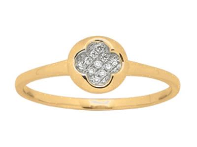 Bague rond motif losange Or jaune diamants 0046 ct