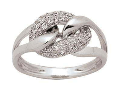 Bague gourmette Or gris, diamants 0,35 ct, doigt 56