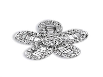 Pendentif Or gris fleur diamants 036 ct