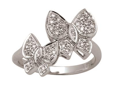 Bague duo de papillons, Or gris, diamants 0,23 ct