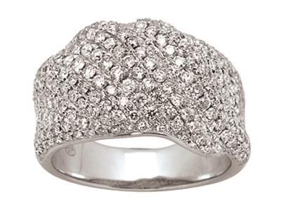 Bague volume Or gris, diamants 1,60 ct