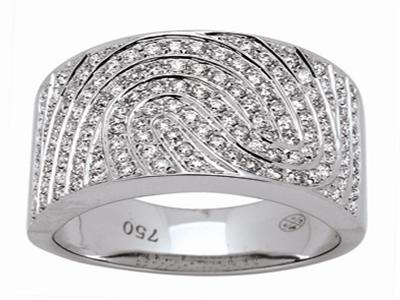 Bague jonc mouvement, Or gris, diamants 0,83 ct