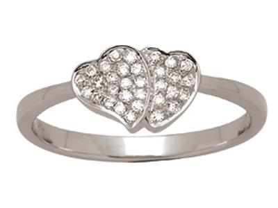 Bague coeur à coeur Or gris, diamants 0,12 ct