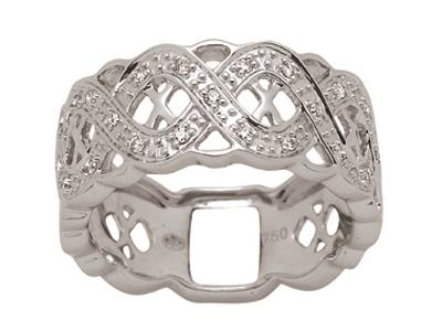 Bague ligne de vagues, Or gris, diamants 0,15 ct