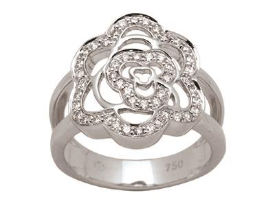 Bague fleur ajourée Or gris, diamants 0,45 ct