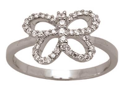 Bague papillon ajourée, Or gris, diamants 0,27 ct