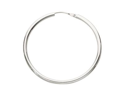 Crole en fil rond Or gris 18k rhodi 16 mm Diamtre  30 mm