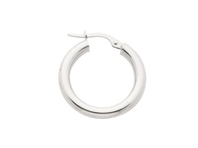 Crole en fil rond Or gris 18k rhodi 3 mm Diamtre  15 mm