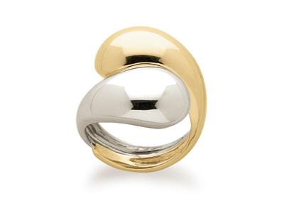 Bague double bombe Or bicolore 18k