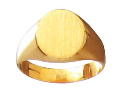 Chevalire massive 25 estampe  plat Or jaune 18k 12 x 10 mm