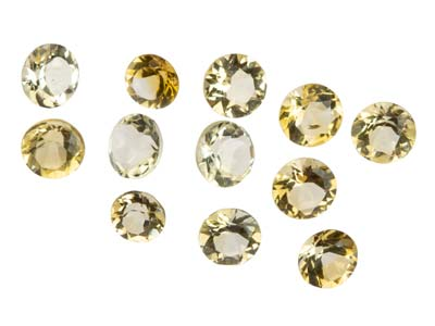 Citrine ronde, assortiment de 1,5 à 3,5 mm, sachet de 12