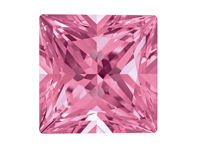 Topaze naturelle Swarovski, carré Princesse Rose, 4 mm