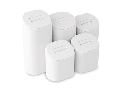 Lot de 5 prsentoirs  bagues en similicuir blanc