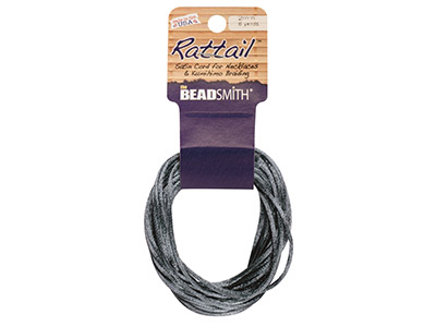 Cordon Beadsmith Ratail Satin Gris 2 mm, 5 mètres