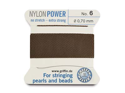 Cordon Nylon Power Griffin n 6, marron 0,70 mm, 2 mètres