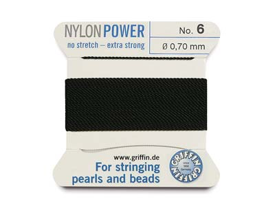 Cordon Nylon Power Griffin n 6, noir 0,70 mm, 2 mètres
