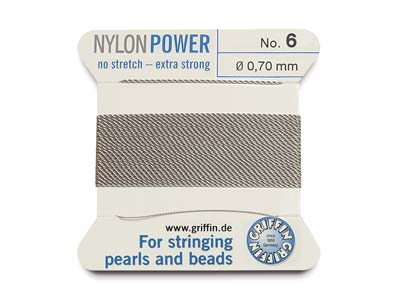 Cordon Nylon Power Griffin n 6, gris 0,70 mm, 2 mètres