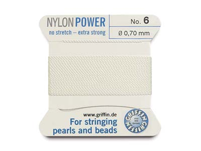 Cordon Nylon Power Griffin n 6, blanc 0,70 mm, 2 mètres