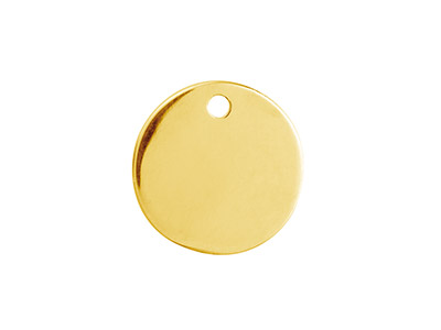 Ebauche Flan Rond percé 1 trou, 15 mm, Gold filled 14k