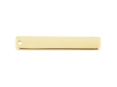Barre rectangulaire 30 x 5 x 080 mm un trou Plaqu Or 14k