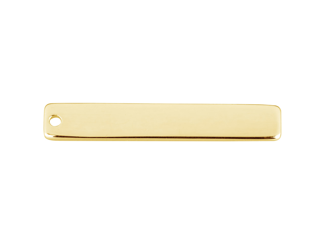 Barre rectangle 1 trou, 30 x 5 x 0,80 mm, Gold filled 14k