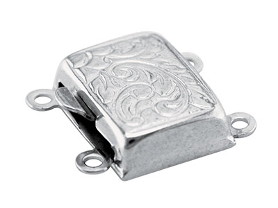 Fermoir 2 rangs, rectangle ciselé 10 x 8 mm, Argent 925
