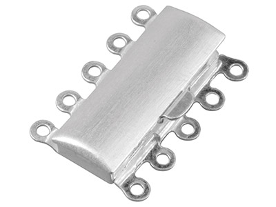 Fermoir 5 rangs, rectangle 23 x 16 mm, Argent 925 aspect mat