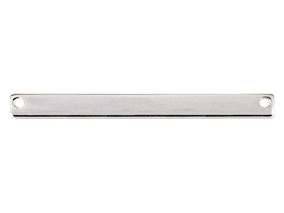 Barre rectangle percée deux trous, 40 x 4 mm, Argent 925