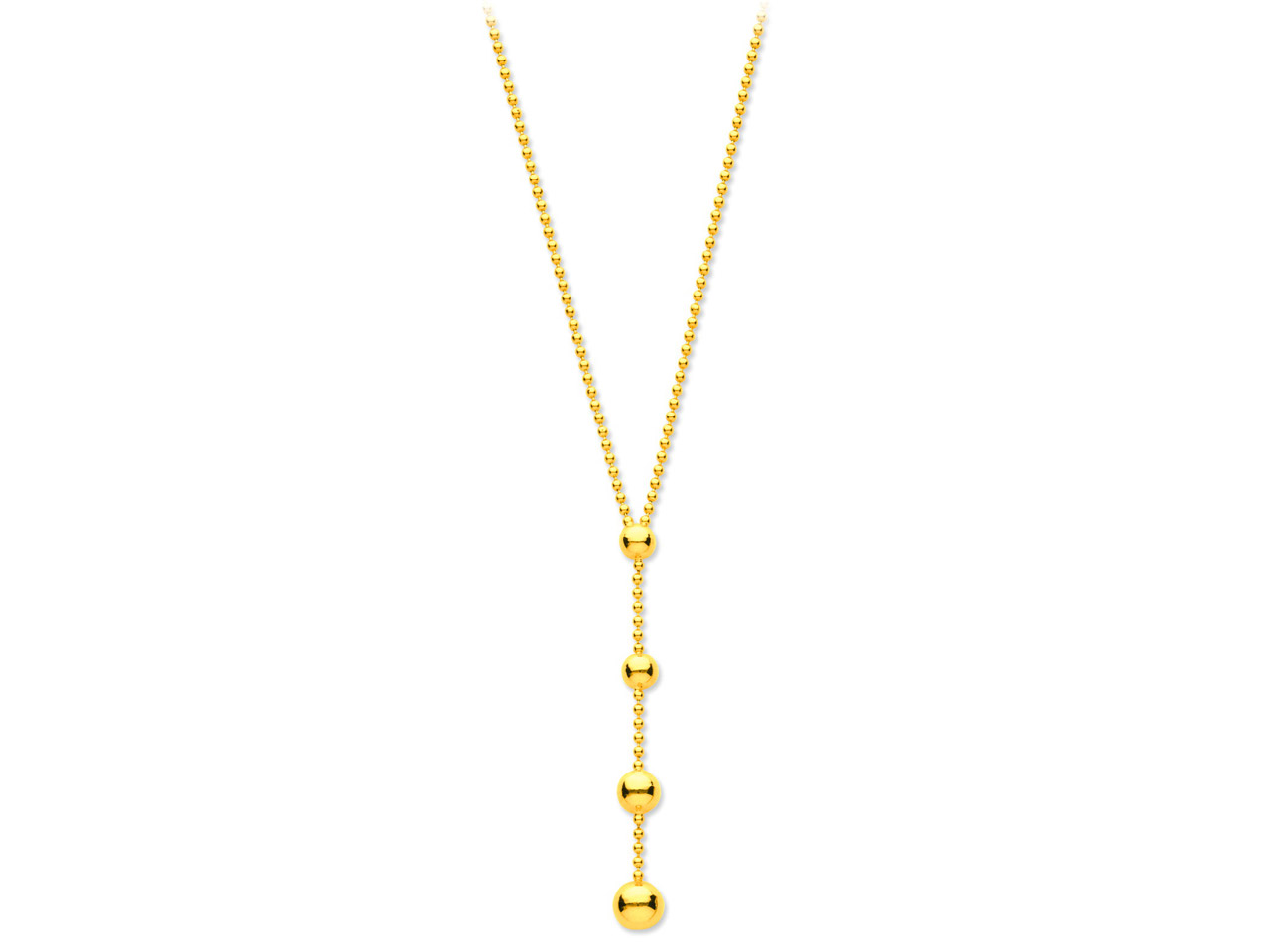 Collier Y boules 1,5 mm, 43 cm, Or jaune 18k